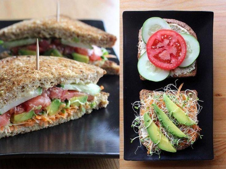 Fresco y saludable sándwich de hummus y vegetales, para mantener la forma. | 16 Deliciosas recetas de sándwiches tan fáciles que no te lo vas a creer