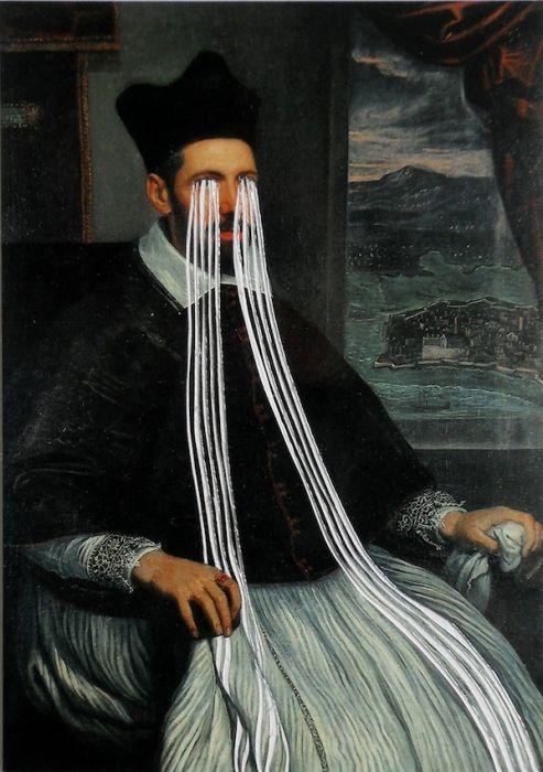 Ruth Claxton. Postcard (Portrait of the Archbishop of Zara) 2011. Postcard, framed.