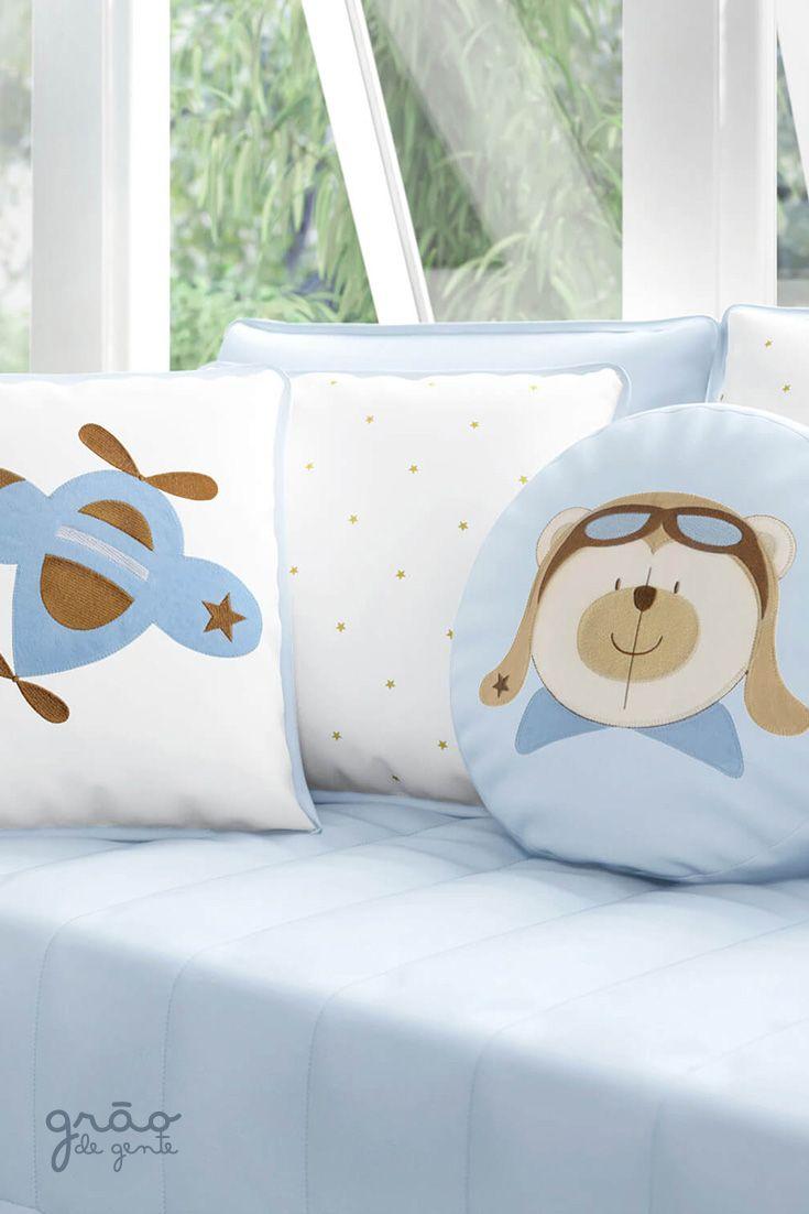 fe1441d5fbe0a As almofadas da Coleção Urso Aviador Azul Bebê vão deixar a decoração do  quarto de bebê