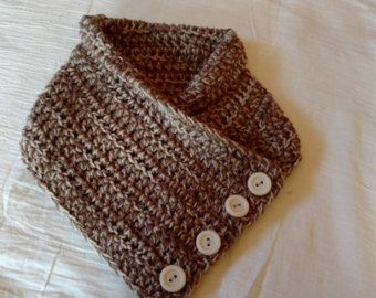 Scarf Knitted Rust Burnt Orange Cowl Buttoned Neck Warmer