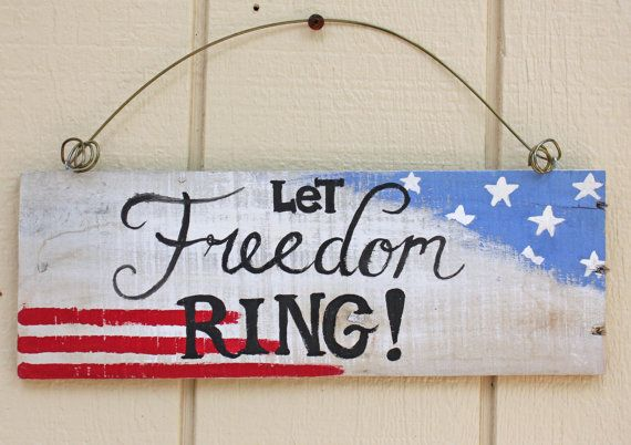Rustic Patriotic Sign - Reclaimed pallet wood  - Let Freedom Ring