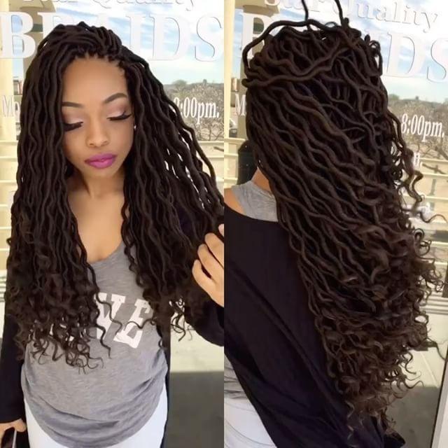 """196 Likes, 10 Comments - Matty & Her Team Of Braiders (@starqualitystylez) on Instagram: """"Still crushing on this beauty and her crochet goddess locs ...... Click On the link in the bio for…"""""""