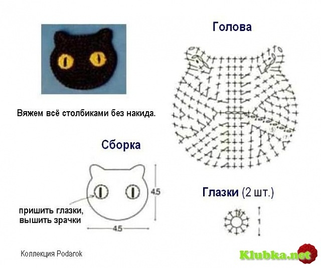 Crochet Applique cat - Chart