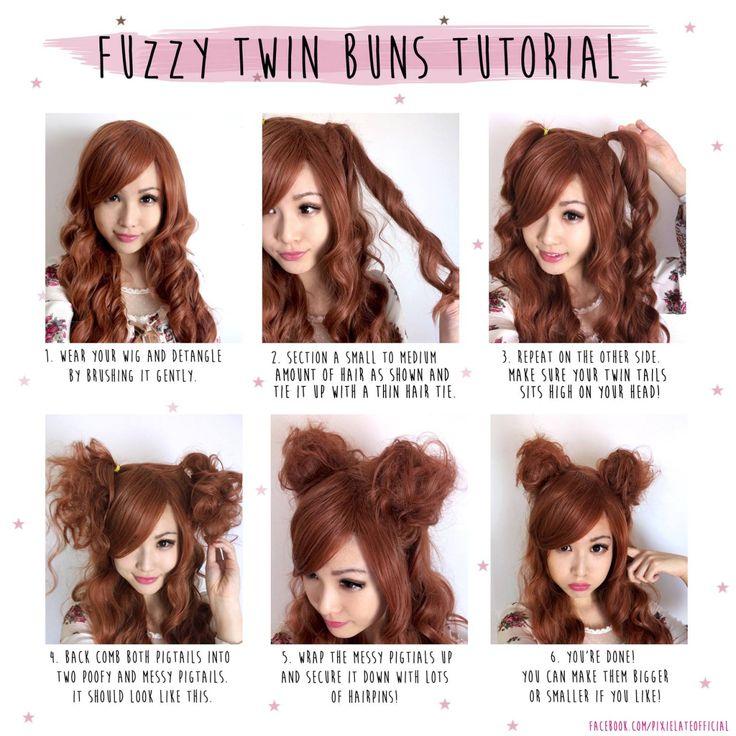 Super cute hair tutorial, Fuzzy twin buns