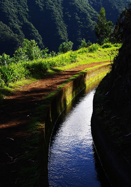 Levada da Central da Ribeira da Janela. A 'levada' is an irrigation channel or aqueduct specific to the island of Madeira in the Atlantic Ocean. There are over 2,170 km of levadas.