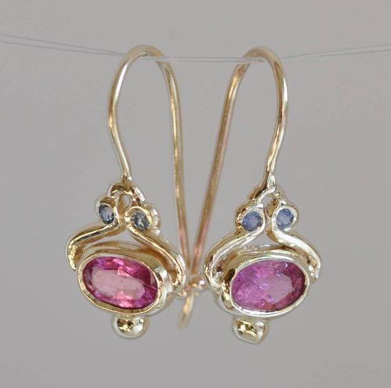 oval sapphire granulation stud earrings. Pink sapphire earring solid sterling silver