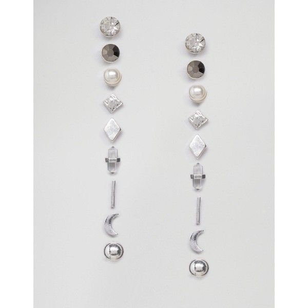 Missguided 9 Pack Stud Earring Set (53 SAR) ❤ liked on Polyvore featuring…