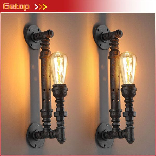 1pcs Industrial Rustic Steampunk METAL PIPE Edison Bulb Vintage Wall Lamps Balcony Bar Light with E27 bulb Rust Pipe wall sconce