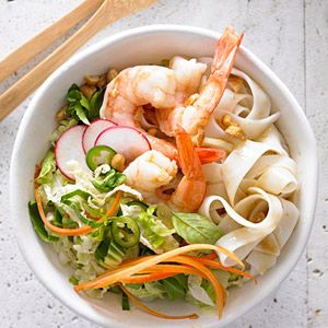 Shrimp and Noodles A spicy wasabi dressing coats the vegetables, noodles, and shrimp in this low-calorie, low-fat meal. For even more heat, substitute wasabi peas for the cashews.