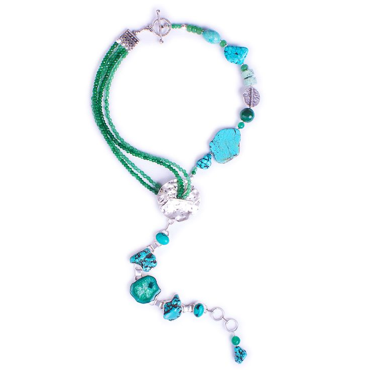 N°142 Emerald & Turquoise Antigravity Statement Necklace - Luka - Contemporary Handcrafted Statement Jewellery Australia