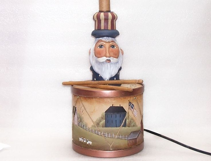 Table Lamp Uncle Sam Americana Drum Hand Painted Primitive Folk Art 2 Rjpe