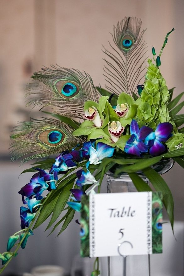 Centerpiece with orchids no Peacock feathers.