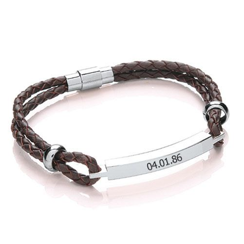 Personalized Leather Anniversary Bracelet - Anniversary Gifts By Year