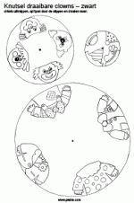 Draaibare clowns Cirkels uitknippen, gaatje in het midden maken, splitpen door de 3 cirkels (grootste onder, kleinste boven) en draaien maar. De clowns krijgen steeds andere gezichten en/of hoed.