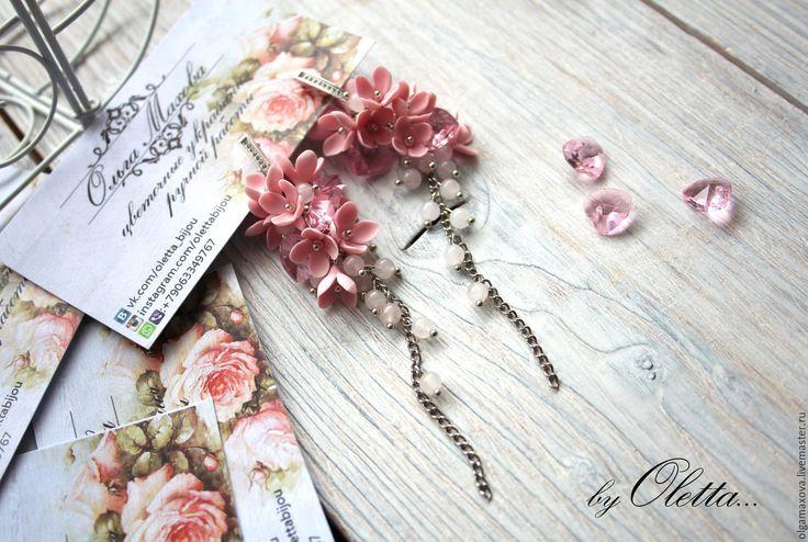 """Купить Колье и серьги """"Розовые сердца"""" - розовый, романтический стиль, романтичный подарок, 14 февраля"""