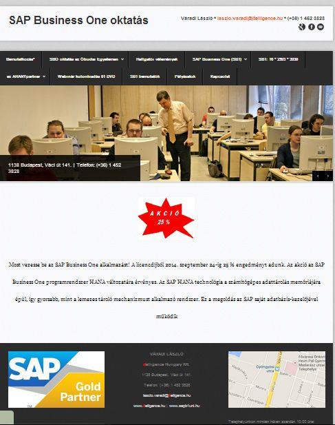 SAP Business One oktatás weboldala http://sapb1uni.hu
