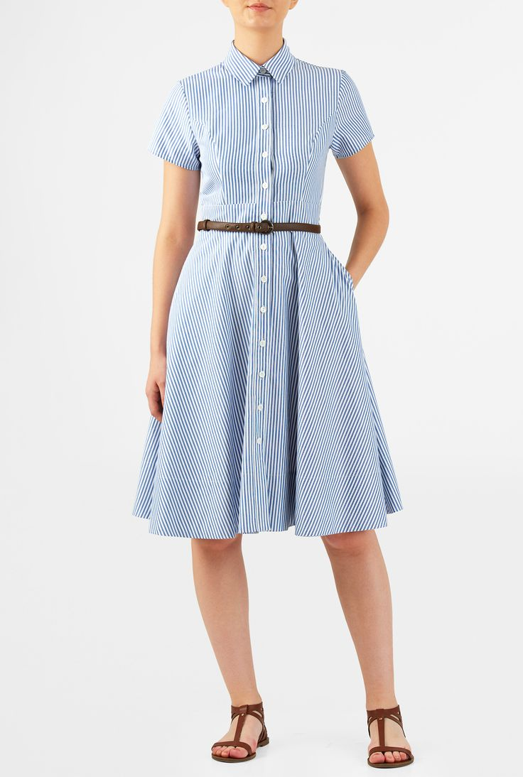 Our cotton stripe shirtdress is cinched in at the banded waist with a faux-leather belt and tailored to fit at the princess seamed bodice and flare at the full skirt.
