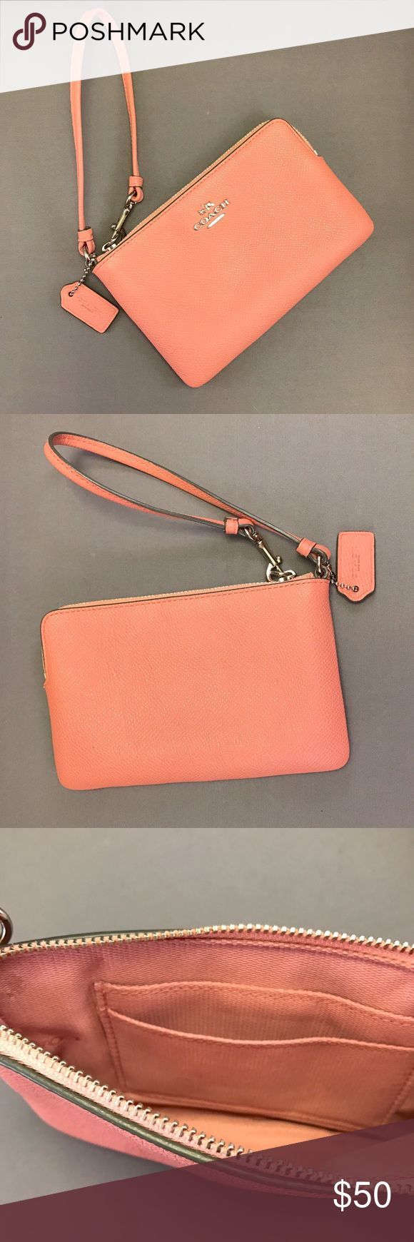 """Pink Coach Wristlet! Pink Coach Wristlet! Inside has a two spots for cards & id. Length: 6"""" Height: 4"""". (Bundle 3 items & Save with my Discount!) Coach Bags Clutches & Wristlets"""