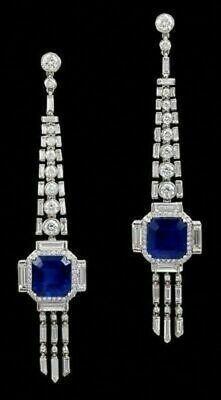 Details about 1930 Egypt Art Deco Vintage Long Drop White CZ & Blue Sapphire Amazing Earrings