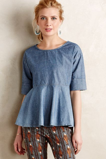 Chambray Swing Top - anthropologie.com