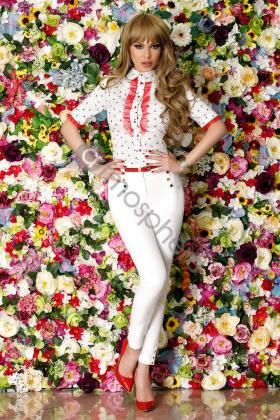 Pantaloni albi cu talie inalta si curea rosie P 739 - imaginea 1