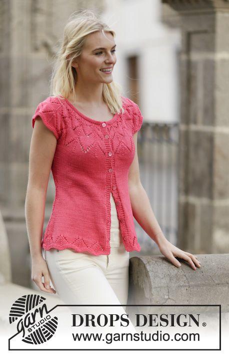"""Call It Spring Cardigan - Gilet DROPS en jersey avec point ajouré et empiècement arrondi, en """"Muskat"""". Du S au XXXL. - Free pattern by DROPS Design"""