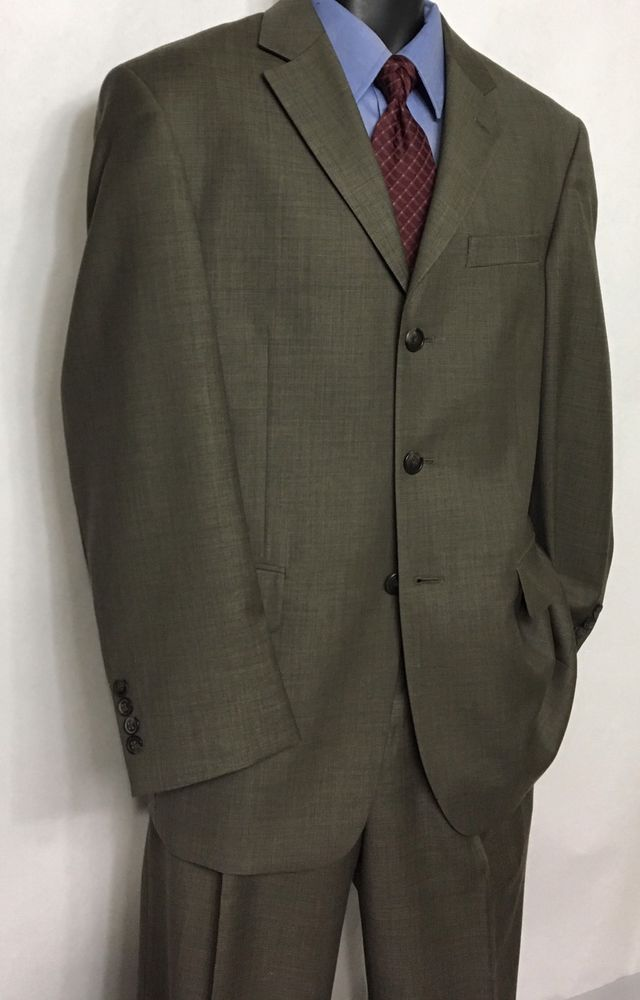 STAFFORD Mens Brown Suit Size 38S   100% Wool Business 2pc   32X32 Pants  #Stafford #ThreeButton