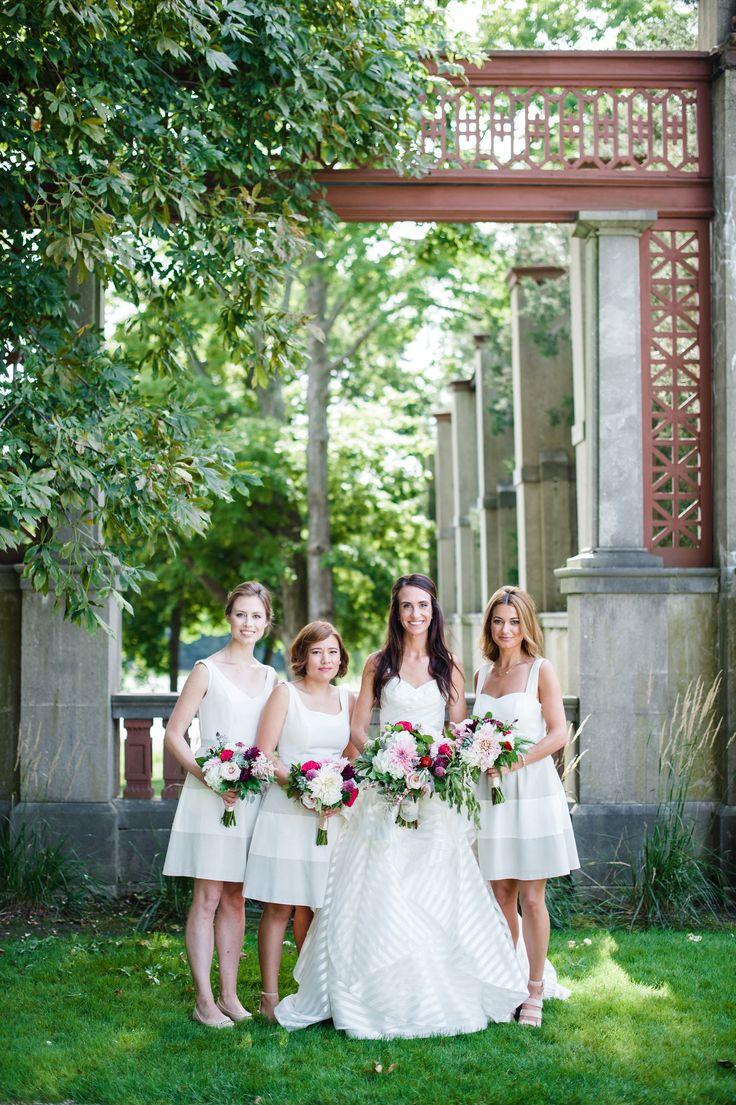 Short white dresses, striped wedding dress, bridesmaids // Amanda Megan Miller Photography