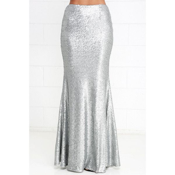 Sea Spray Matte Silver Sequin Maxi Skirt ($82) ❤ liked on Polyvore featuring skirts, white flare skirt, sequin skirt, white flared skirt, long white skirt and silver maxi skirt