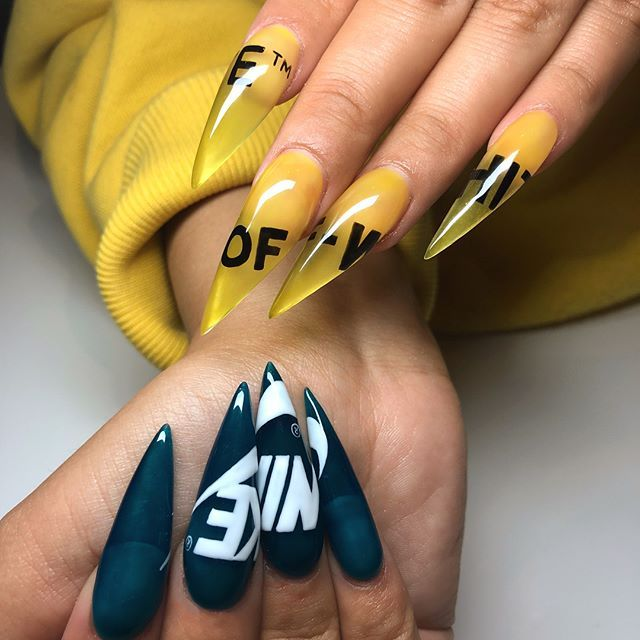 Nike Off White Nike Nails Yellow Nails Yellow Nail Art