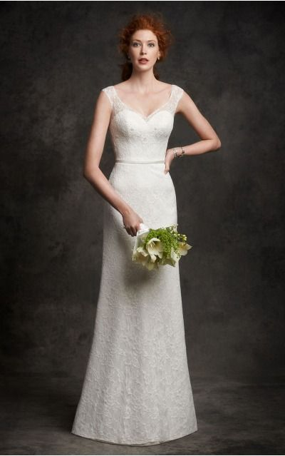 Buttons  Sheath Natural V-neck Wedding Dresses hecf1004