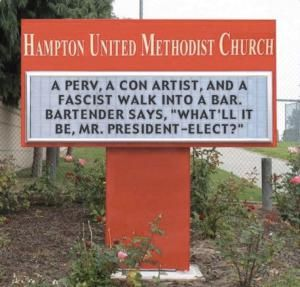 A roundup of funny and clever signs protesting Donald Trump's presidential candidacy.: A Perv, Con Artist, and Fascist