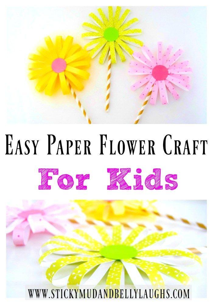 Easy Paper Flower Craft Flower Crafts Paper Flowers Summer