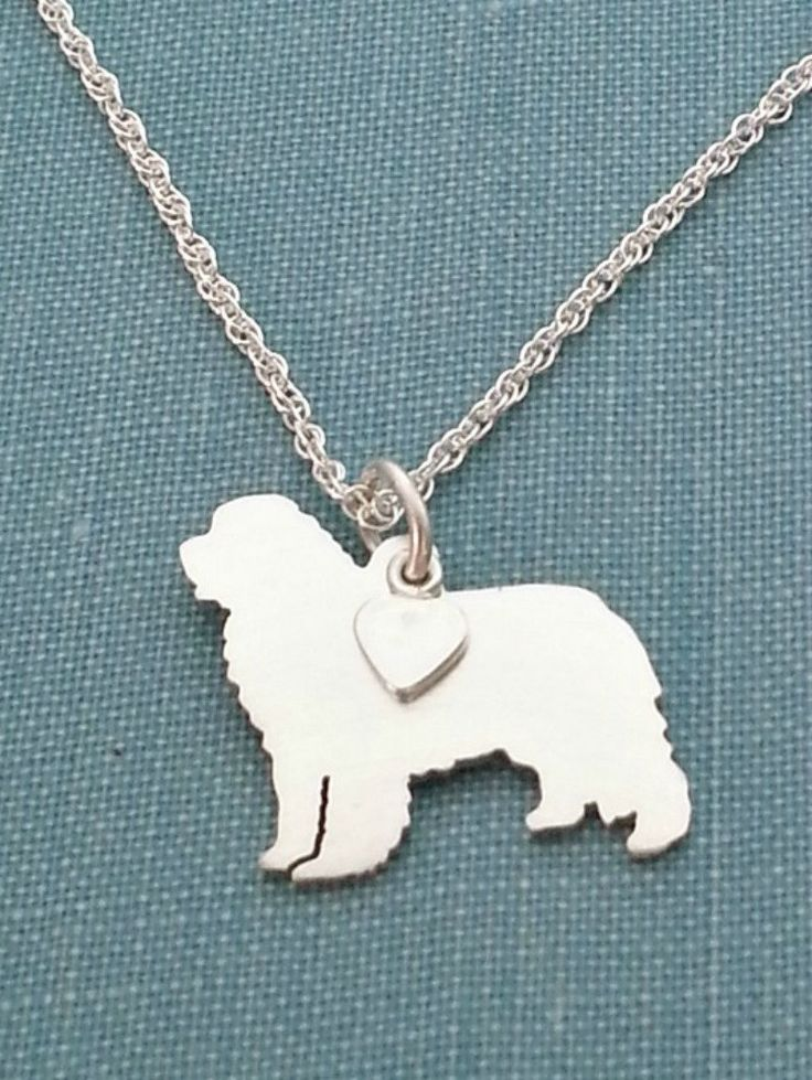 #Newfoundland #Dog Necklace, Sterling Silver Personalize Pendant, Breed Silhouette Charm Rescue Shelter, Gift by DiBAdog on Etsy