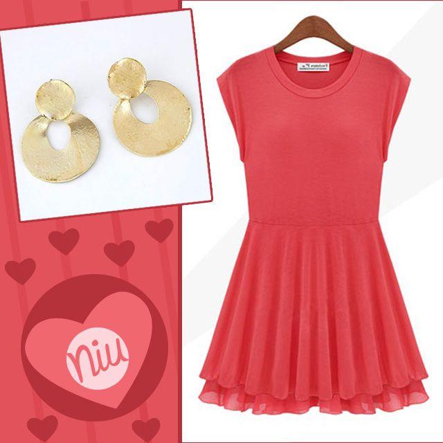 Un outfit entre este vestido de tonos corales con estos lindos aretes dorados :) encuentra esto y mucho más en: www.niuenlinea.co