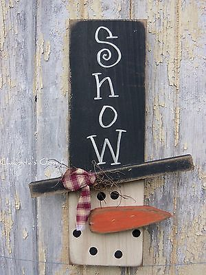 Details about PRIMITIVE Snowman Wood Sign Door Rustic Christmas Country Home…