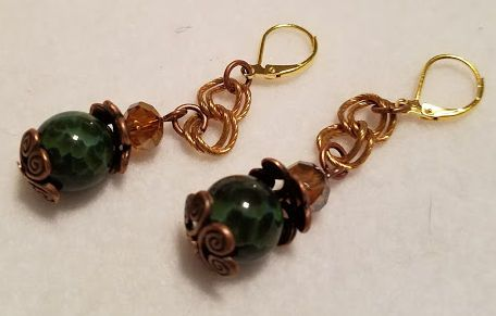 Green Fire Crackle Agate & Topaz Czech glass Earrings