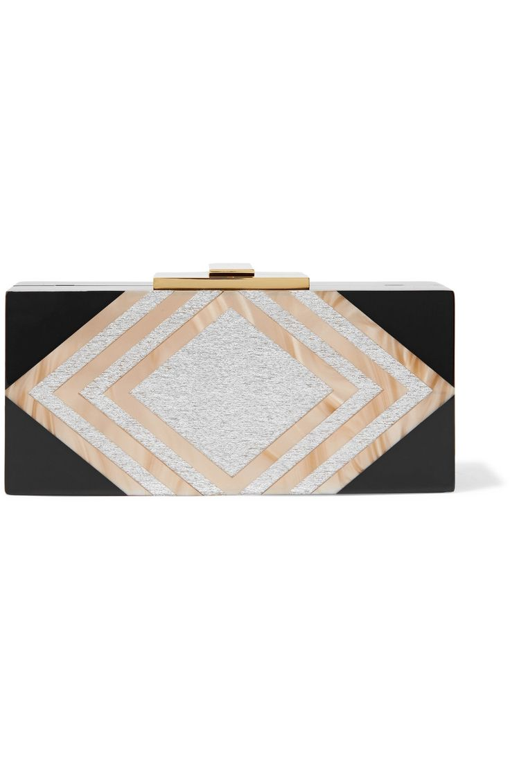 HALSTON HERITAGE Marbled and glittered acrylic clutch. #halstonheritage #bags #shoulder bags #clutch #glitter #hand bags #