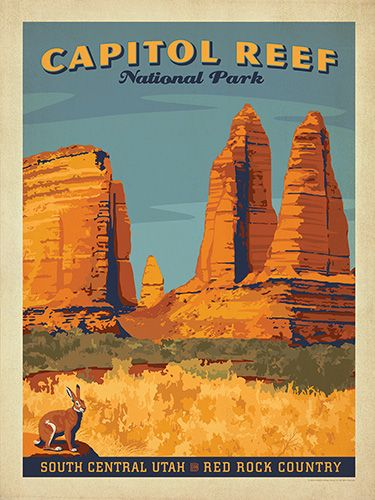 Capitol Reef National Park - Anderson Design Group has created an award-winning series of classic travel posters that celebrates the history and charm of America's greatest cities and national parks. Founder Joel Anderson directs a team of talented Nashville-based artists to keep the collection growing. This print celebrates the red rock splendor of Capitol Reef National Park.<br />
