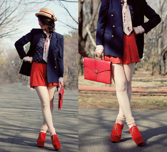 Sailor chic with pink necktie (by Shan  Shan) http://lookbook.nu/look/3241733-sailor-chic-with-pink-necktie