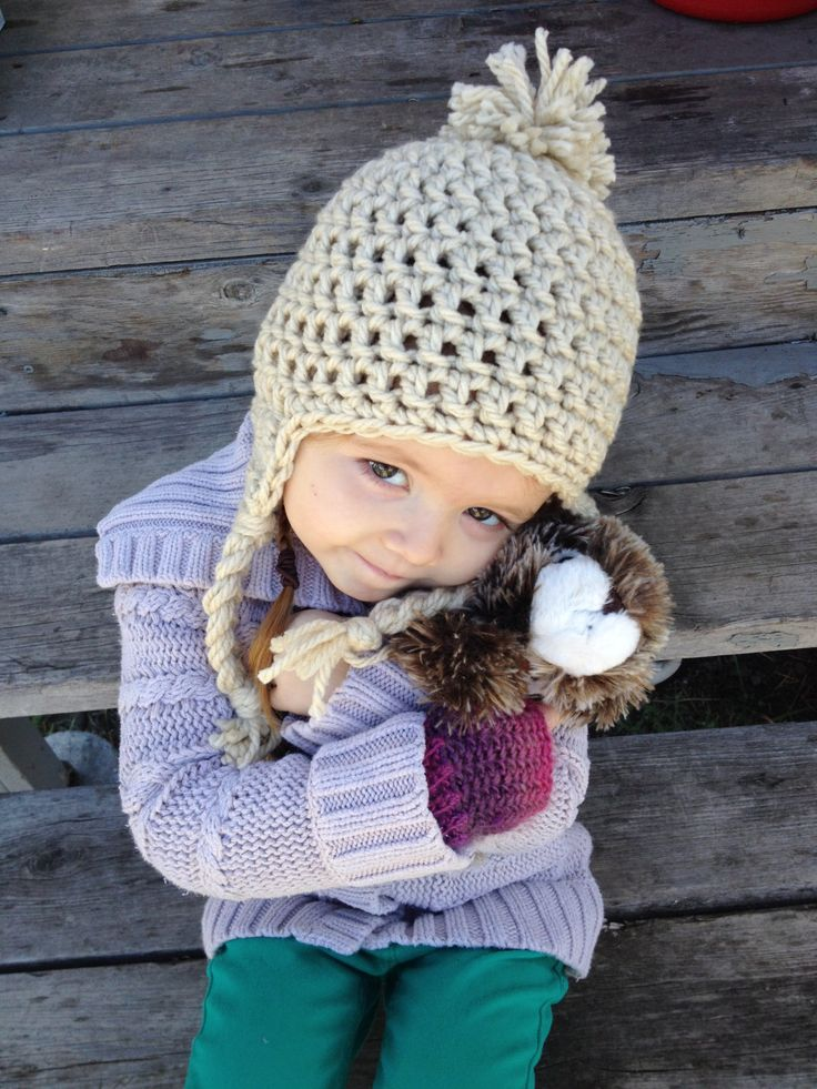Toddler/Small Child Crochet PomPom Earflap Toque - Unisex- Linen by AngiesKnottyCreation on Etsy