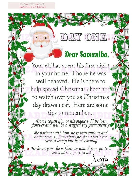 Elf On The Shelf Letter From Santa Includes Tips