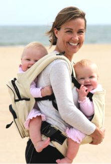 There are very few choices for twin baby carriers. The TwinTrexx,MaxiMom, Weego, and Moby work well for twin baby wearing. Find details about each and where to buy.