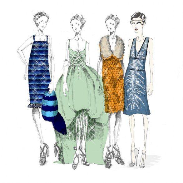 Miuccia Prada disegni i costumi di scena del film Il grande Gatsby