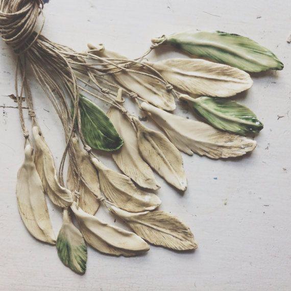 Ceramic Feather necklaces / Sarah's ceramic studio / etsy