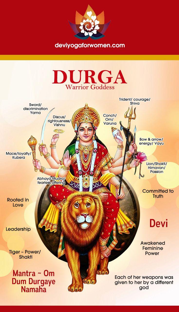 Durga Devi. Fierce but loving Warrior Goddess. A new model of Feminine Leadership. How to stay relaxed but always in our seat of power. Om Dum Durgayai Namaha! deviyogaforwomen.com