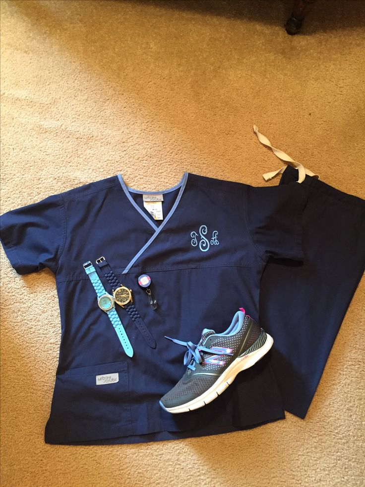 Navy and ceil monogrammed scrubs