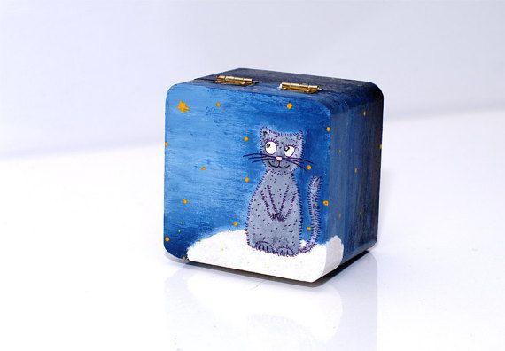 Small wooden box - Cat jewelry box - Wood box cat - Keepsake box wood - Small box cat - Jewellery box wood - HAND PAINTED small jewelry box - Wood cat box