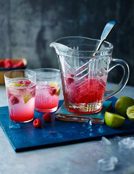 Homemade raspberry, lime and rose cordial