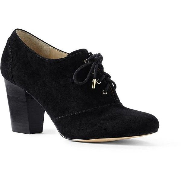 Lands' End Women's Heeled Oxfords (1,750 MXN) ❤ liked on Polyvore featuring shoes, oxfords, black, tie shoes, cap-toe oxford, black oxford shoes, lace shoes and black oxfords